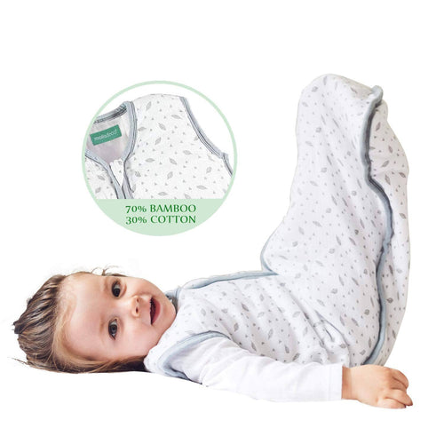 Biloban Cotton & Bamboo Muslin Sleeping Bag - Baby Wearable Blankets & Sleep Sack, Grey Leaf, 0.5 TOG - Biloban Online Store