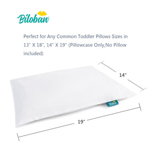 "Toddler Pillow with Pillowcase- 2 Pack, 100% Cotton, Flat, Fluff, Wide, 13""x 18"", White - Biloban Online Store"
