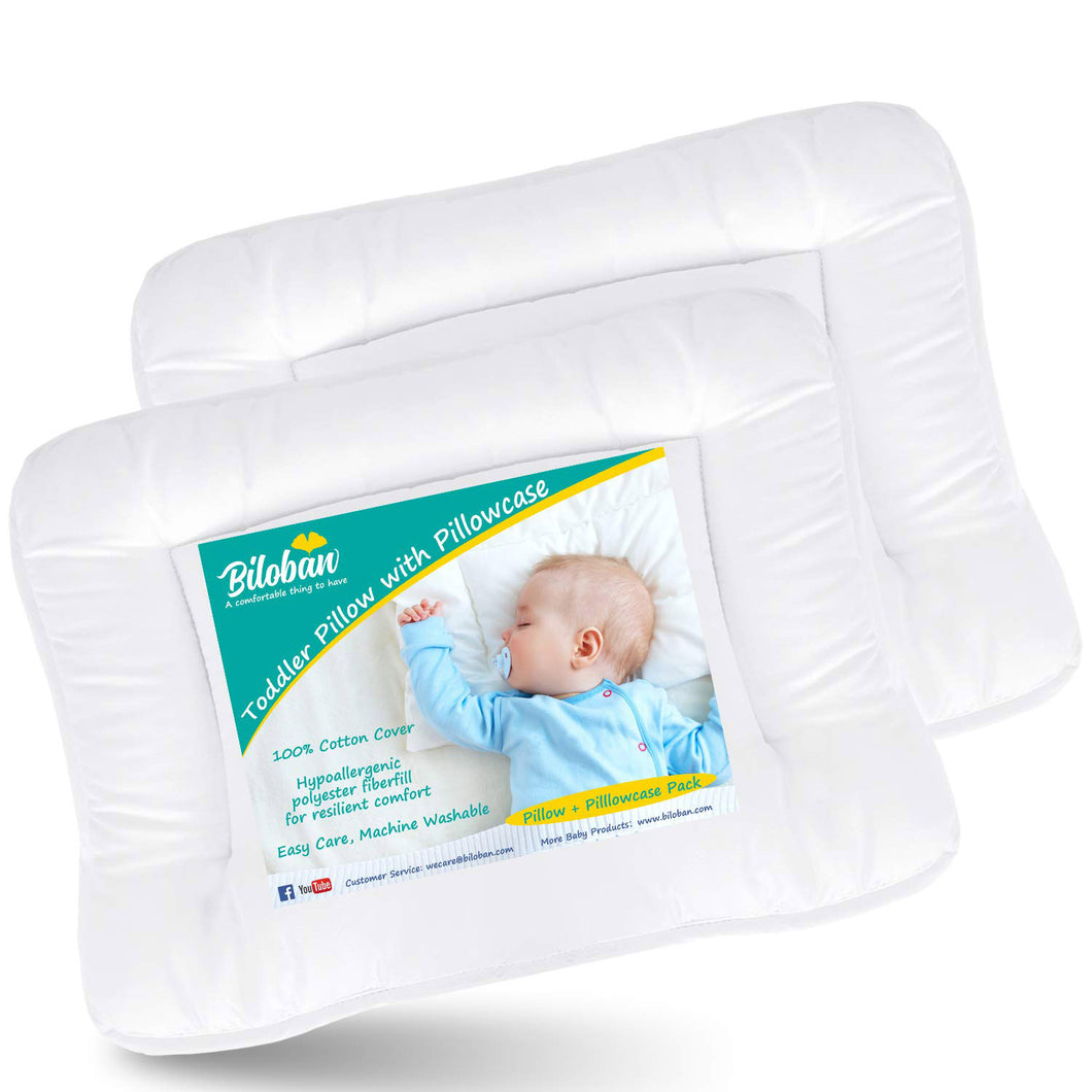 Toddler Pillow with Pillowcase- 2 Pack, 100% Cotton, Flat, Fluff, Wide, 13