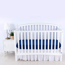 "Load image into Gallery viewer, Crib Sheets - 2 Pack, Ultra Soft Microfiber,  White & Navy ( for Standard Crib 52""x28"" ) - Biloban Online Store"