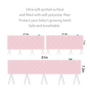 3 Pieces Quilted Crib Rail Cover- Protector Safe Teething Guard Wrap, Pink & White - Biloban Online Store