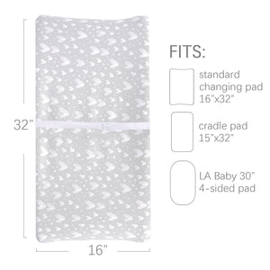 Changing Pad Cover - 2 Pack Gray, Ultra Soft 100% Jersey Knit Cotton, Heart Print - Biloban Online Store