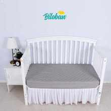 "Load image into Gallery viewer, Crib Mattress Protector - Bamboo (for Standard Crib 52"" × 28""), Grey - Biloban Online Store"
