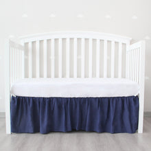 Load image into Gallery viewer, Navy Crib Skirt Four Fabric Sides Elastic Wrap Around Dust Ruffled Solid Bed Skirts Easy On/Easy Off, Bedding Dust Ruffle for Baby Girls and Baby Boys, Fit All Standard