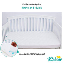 "Load image into Gallery viewer, Biloban Crib Mattress Protector - Ultra Soft Microfiber ( for Standard Crib 52""x 28"" )"