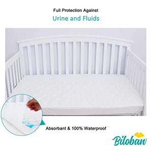 "Biloban Crib Mattress Protector - Ultra Soft Microfiber ( for Standard Crib 52""x 28"" )"
