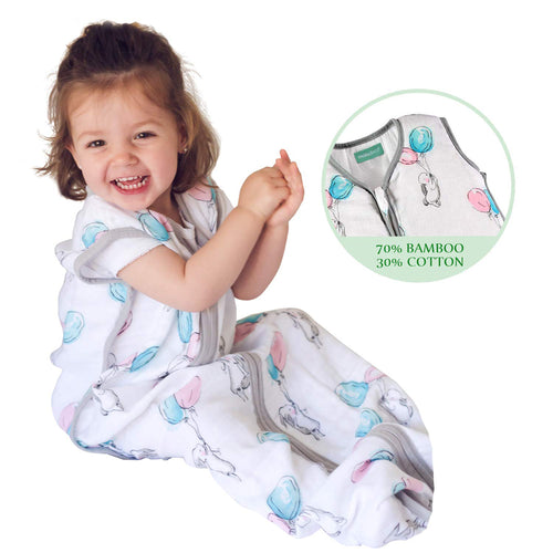 Biloban Cotton & Bamboo Muslin Sleeping Bag - Baby Wearable Blankets & Sleep Sack, Bunny, 0.5 TOG - Biloban Online Store