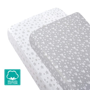 "Crib Sheets - 2 Pack, Gray Heart Print Ultra Soft and 100% Jersey Knit Cotton ( for Standard Crib 52""x28"" ) - Biloban Online Store"