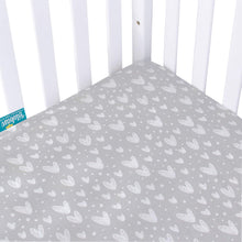 "Load image into Gallery viewer, Crib Sheets - 2 Pack, Gray Heart Print Ultra Soft and 100% Jersey Knit Cotton ( for Standard Crib 52""x28"" ) - Biloban Online Store"