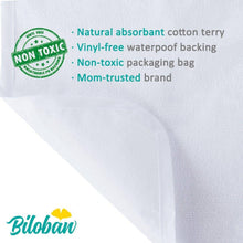 Load image into Gallery viewer, Biloban Waterproof Washable Cotton Terry Changing Changing Pad Liners (5 Pack)