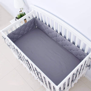"Crib Bumper Pads - 3D Weave Print, Fit for Standard Crib (52""x28""), Grey - Biloban Online Store"