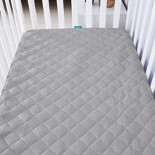 "Load image into Gallery viewer, Bamboo Cradle Mattress Pad Cover for 36"" × 18"" Standard Cradle Mattress, Grey - Biloban Online Store"