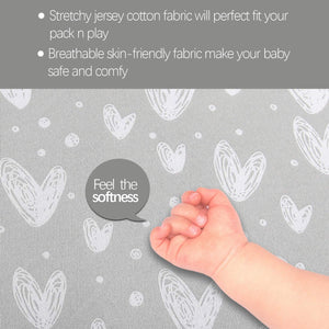 Pack n Play Fitted Sheets - 2 Pack Gray Print, Jersey Cotton (for Mini Crib 39''x27'') - Biloban Online Store