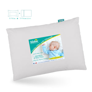 "Baby First Toddler Pillow with Pillowcase for Boys and Girls (13""x 18""),  Gray - Biloban Online Store"