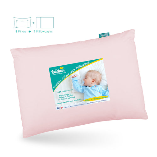 Toddler Pillow with Pillowcase- Cotton Shell, Poly Cluster Fiber Filling, 13