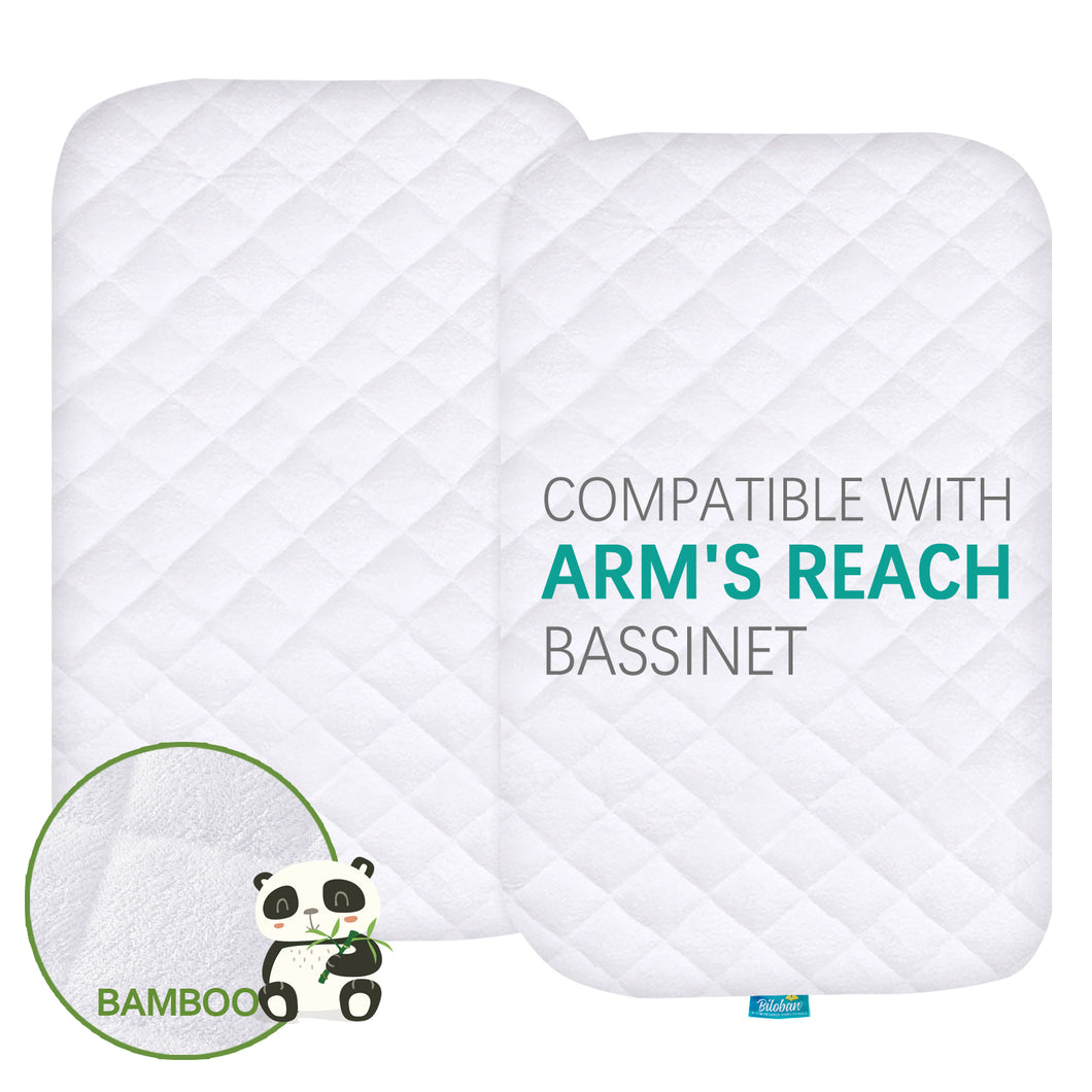 Quilted Bassinet Mattress Pads - Compatible with Arm's Reach Mini Ezee 2 in 1 Co-sleeper Bassinet, 2 Pack, Bamboo - Biloban Online Store