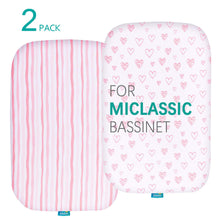 Load image into Gallery viewer, Biloban Bassinet Fitted Sheets for MiClassic (2 Pack), 100% Jersey Knit Cotton - Biloban Online Store