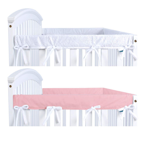 Narrow Side Crib Rail Cover-  2 Pack, Pink/White, Protector - Biloban Online Store