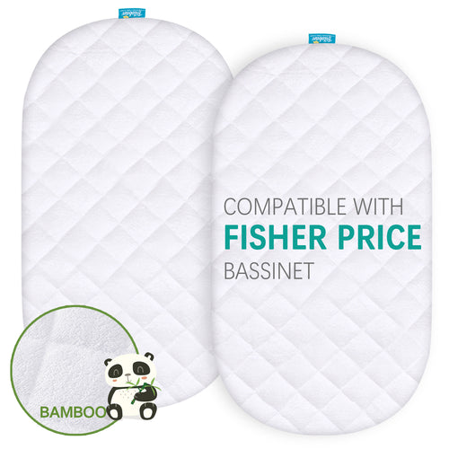 Quilted Bassinet Mattress Pads - Compatible with Fisher-Price Soothing Motions Bassinet, 2 Pack, Bamboo