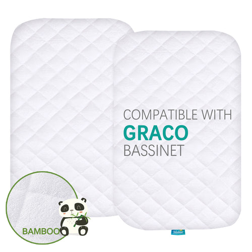Quilted Bassinet Mattress Pads -  Compatible with Graco Travel Lite Crib, 2 Pack, Bamboo - Biloban Online Store