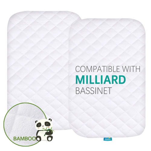 Quilted Bassinet Mattress Pads - Compatible with Milliard Side Sleeper Bedside Bassinet, 2 Pack, Bamboo