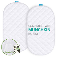 Load image into Gallery viewer, Quilted Bassinet Mattress Pads -  Compatible with Munchkin Brica Fold N' Go Travel Bassinet, 2 Pack, Bamboo - Biloban Online Store