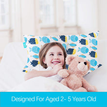"Load image into Gallery viewer, Toddler Pillow- Poly Cluster Fiber Filling, Soft Best Neck Support, 13"" x 18"", Fish Print - Biloban Online Store"