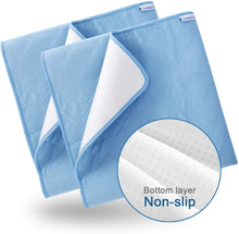 Load image into Gallery viewer, Washable Bed Pads for Incontinence 2 Pack  Blue- 34'' x 52'', Reusable, Waterproof ,Non-Slip Back - Biloban Online Store