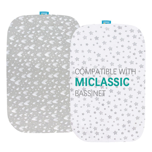 Bassinet Fitted Sheets compatible with MiClassic 2in1 Stationary & Rock Bassinet - 2 Pack, Cotton - Biloban Online Store