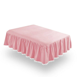 Crib Skirt - Dust Ruffle With Lovely Pompoms, - Biloban Online Store