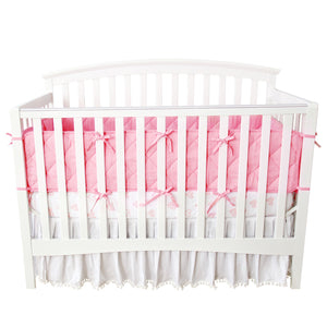 Baby Girls Crib Bedding 3-Piece Set (Bumper, Sheet and Skirt) - Biloban Online Store