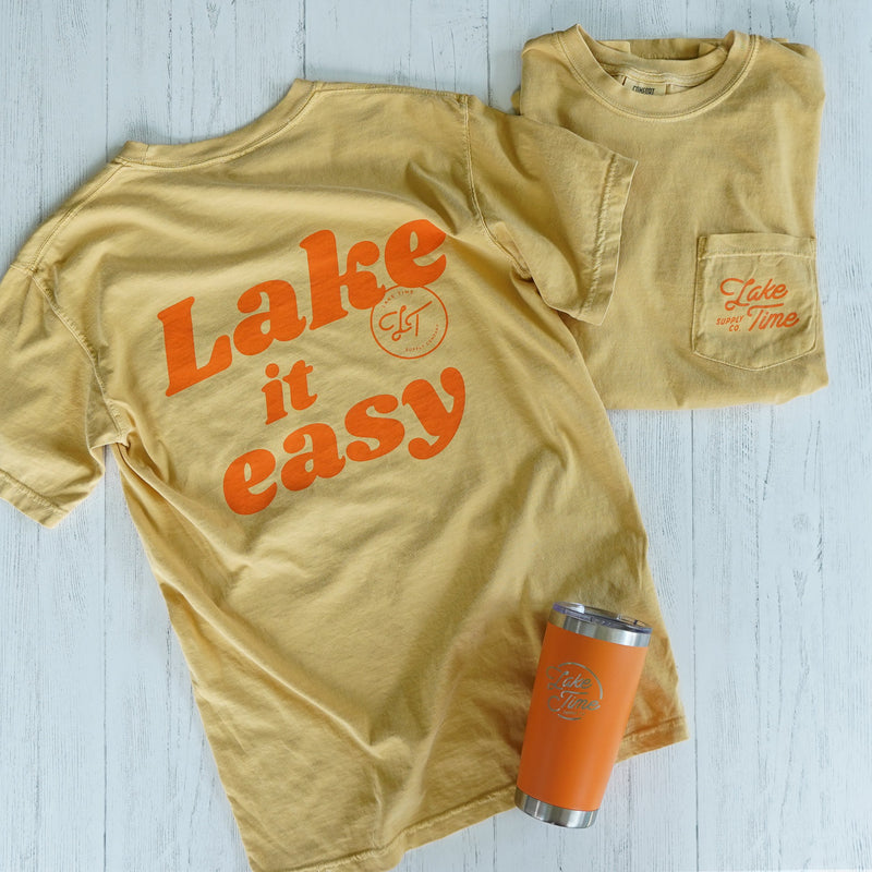 "Unisex ""Lake It Easy"" Pocket T-Shirt - Mustard Yellow - Lake Time Supply Co."