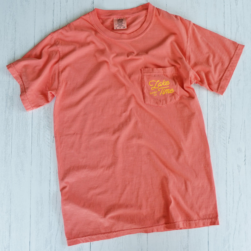 "Unisex ""Lake It Easy"" Pocket T-Shirt - Bright Salmon - Lake Time Supply Co."