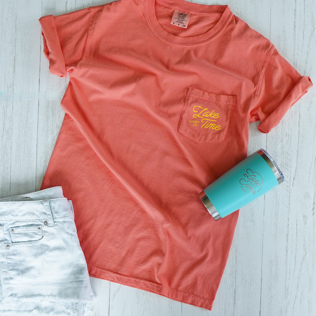 "Unisex ""Lake It Easy"" Pocket T-Shirt - Bright Salmon"