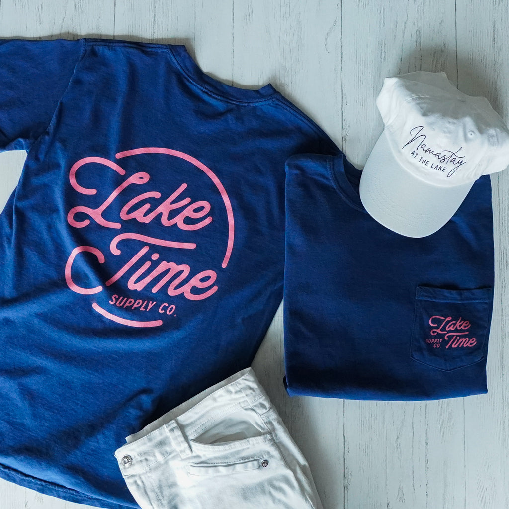 Unisex Lake Time Pocket T-Shirt - Navy/Pink - Lake Time Supply Co.