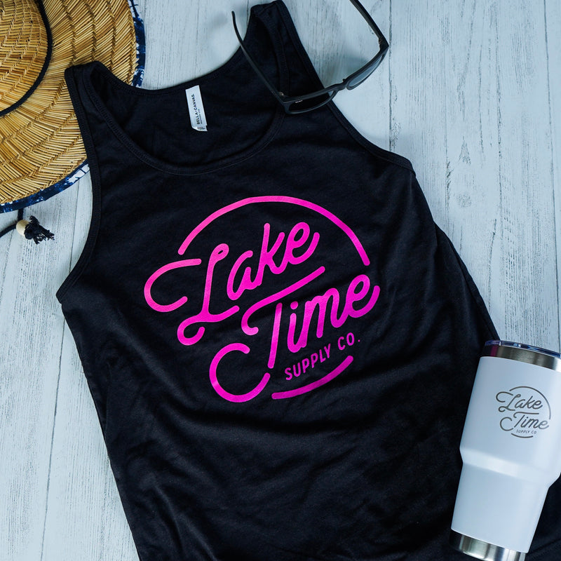 Lake Time Logo Tank - Unisex Fit (Black/Pink) - Lake Time Supply Co.