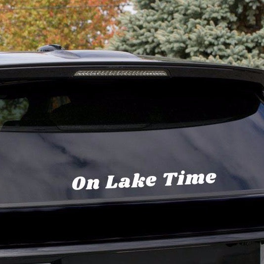 """On Lake Time"" 19-inch White Decal"
