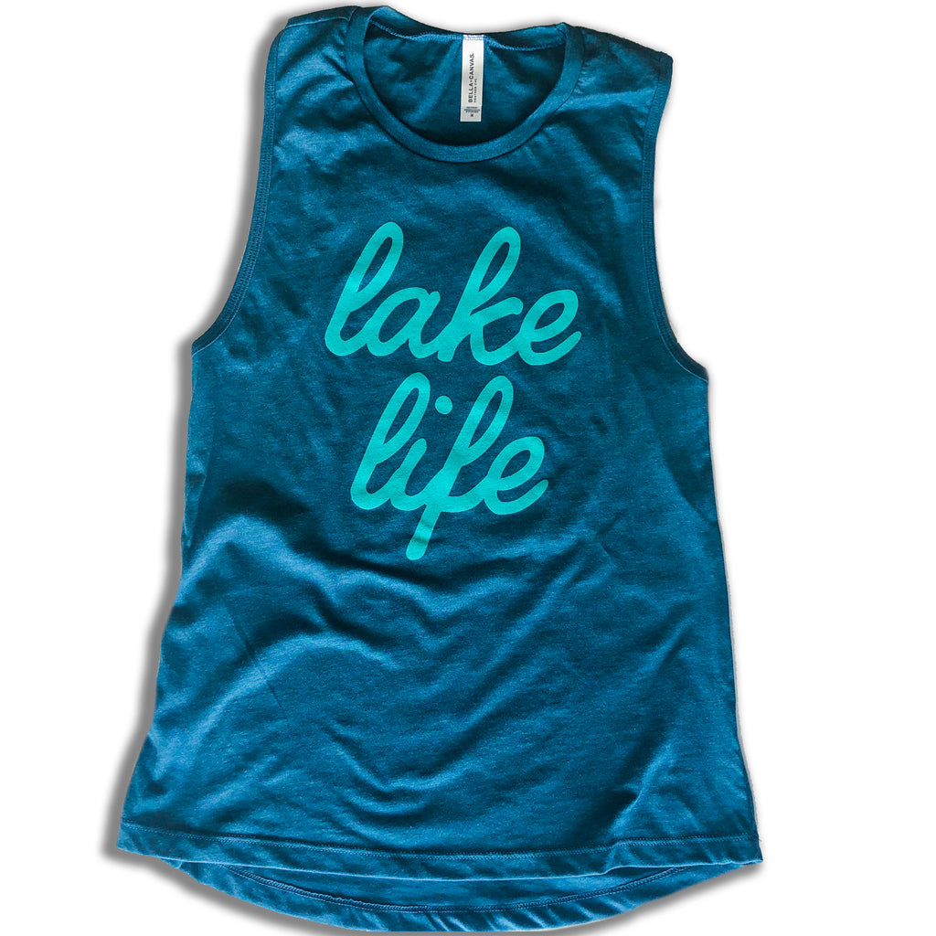 Lake Life Script Muscle Tank (Ladies) - Teal - Lake Time Supply Co.
