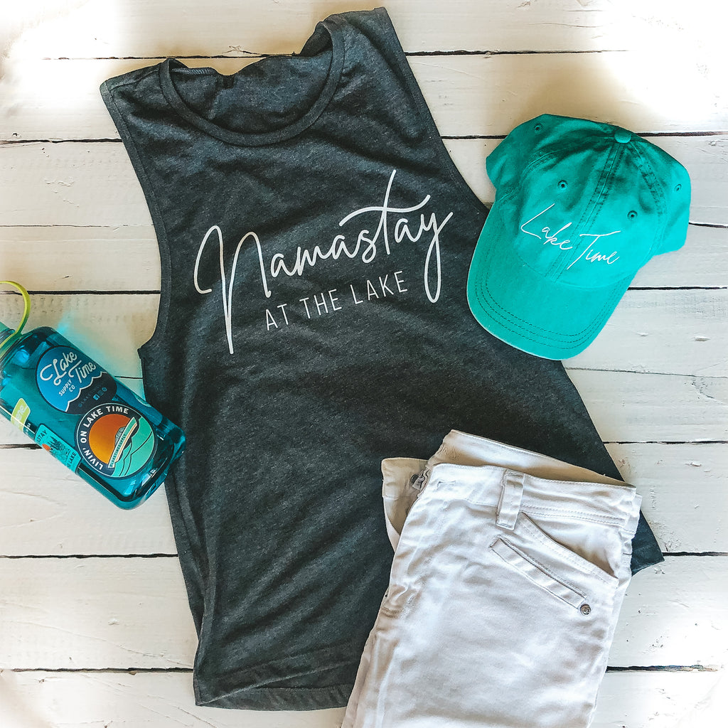 "Ladies' ""Namastay At The Lake"" Muscle Tank"