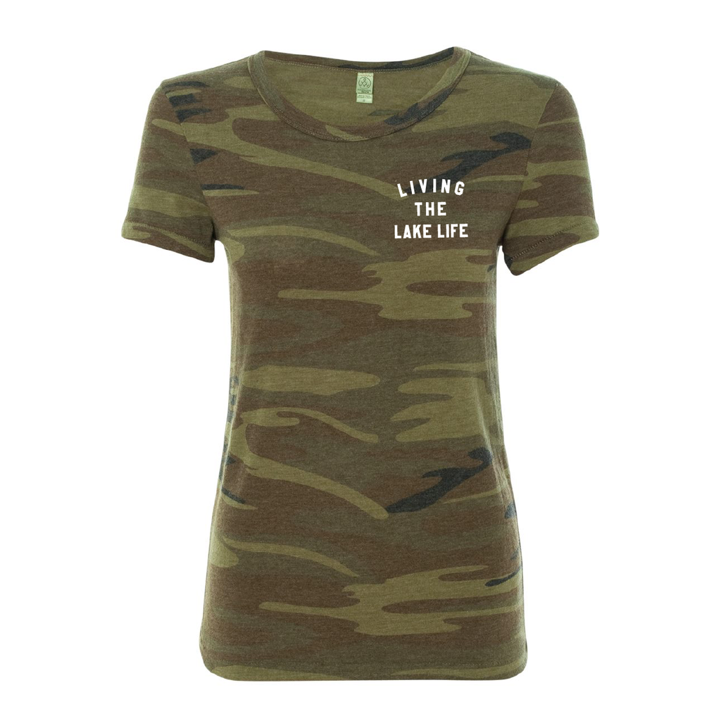 Living the Lake Life (Ladies' Badge Print Tee) - Lake Time Supply Co.