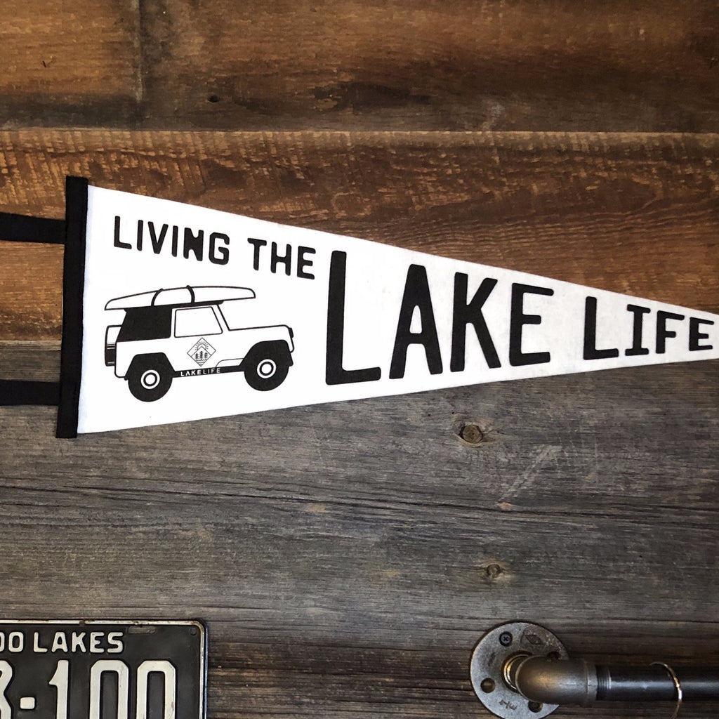 Vintage Felt Pennant - Living the Lake Life Jeep