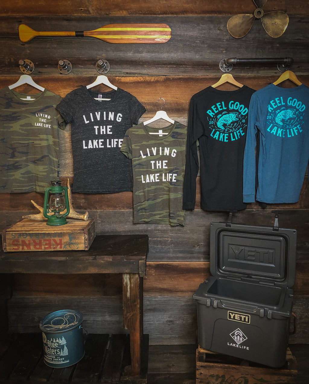 Living the Lake Life (Ladies Statement Tee) - Heather Black