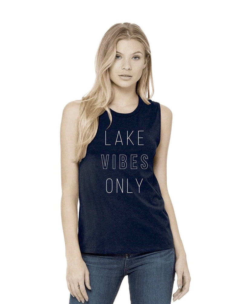 Lake Vibes Only Muscle Tank (Ladies) - Navy
