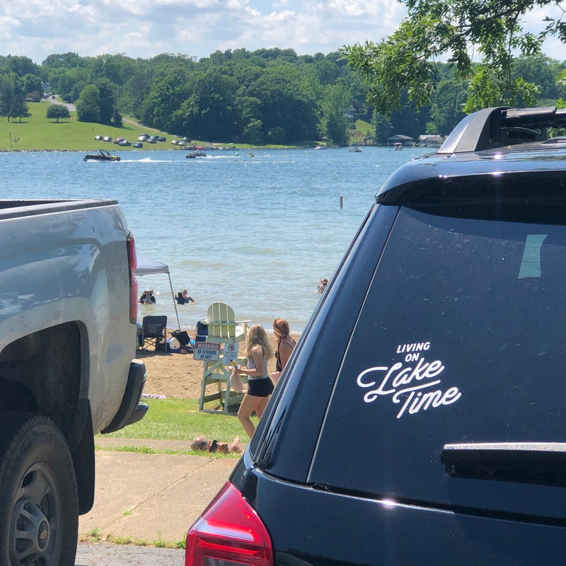 """Living On Lake Time"" White Decal"
