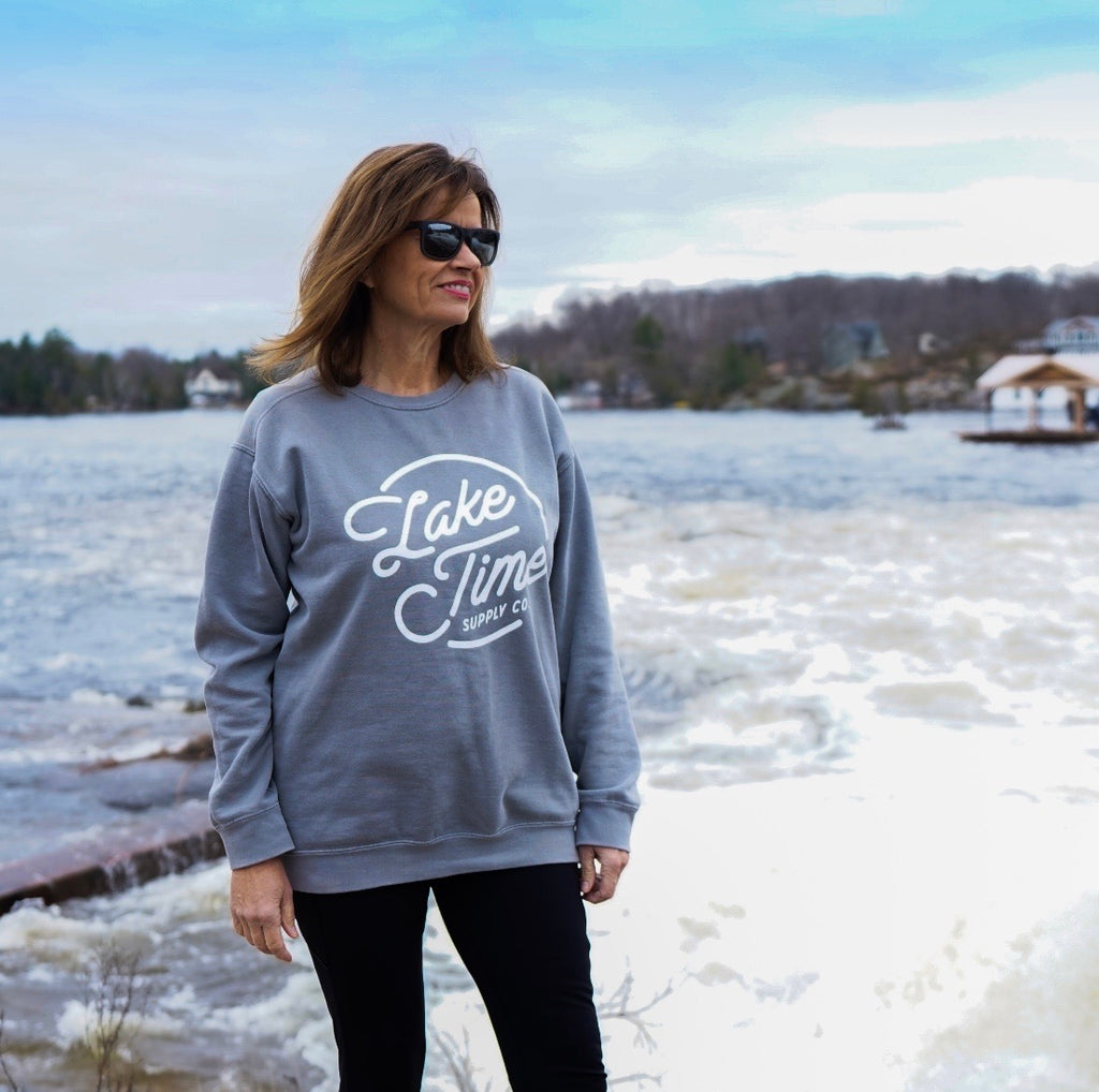 Unisex Logo Crewneck - Grey - Lake Time Supply Co.