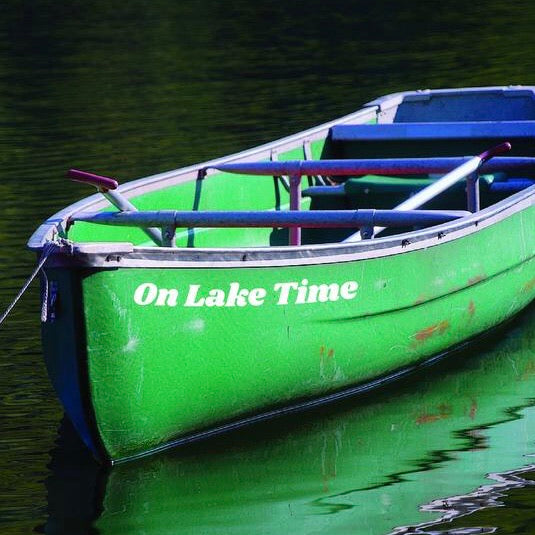 """On Lake Time"" 19-inch White Decal - Lake Time Supply Co."