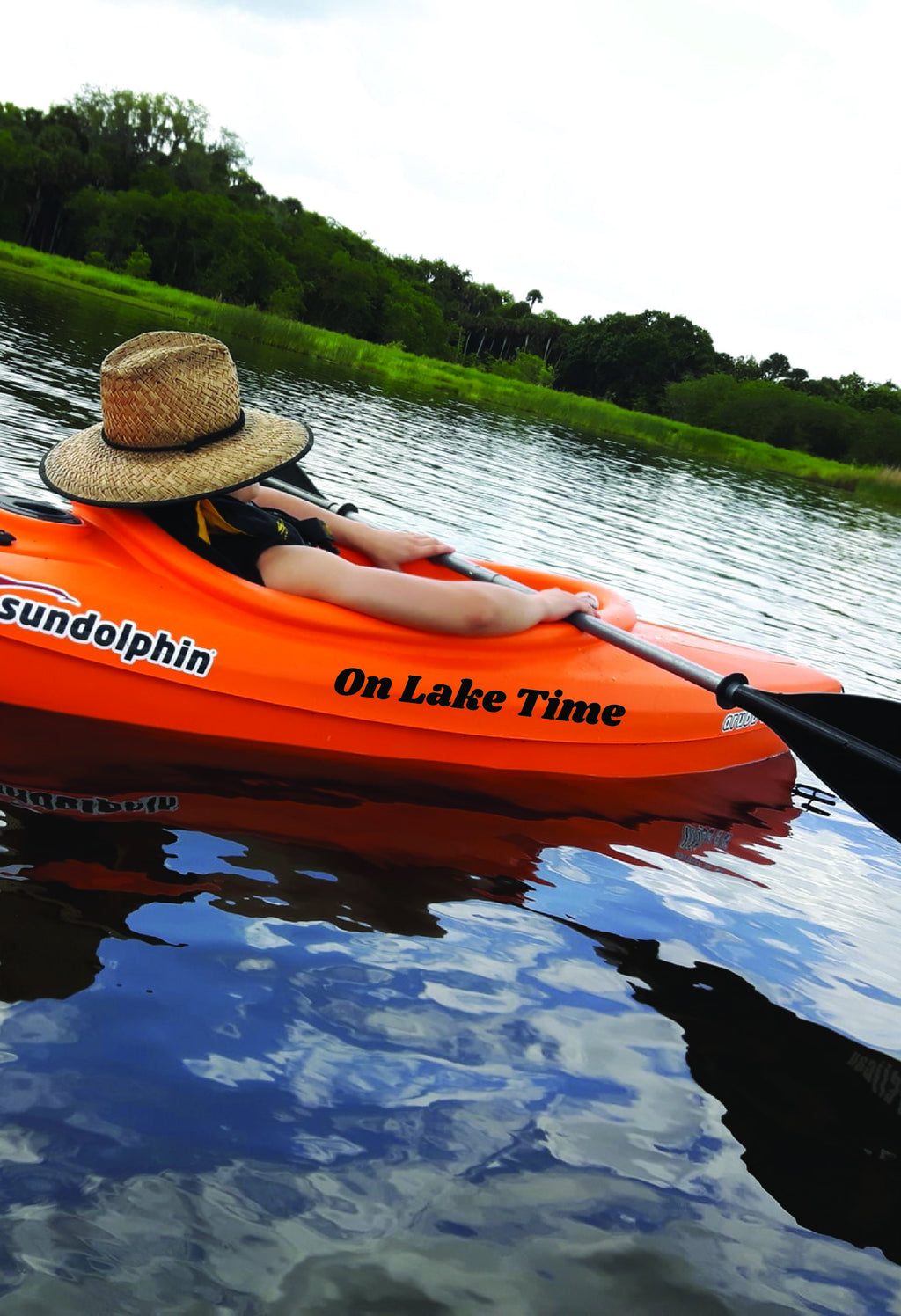 """On Lake Time"" 19-inch Black Decal - Lake Time Supply Co."
