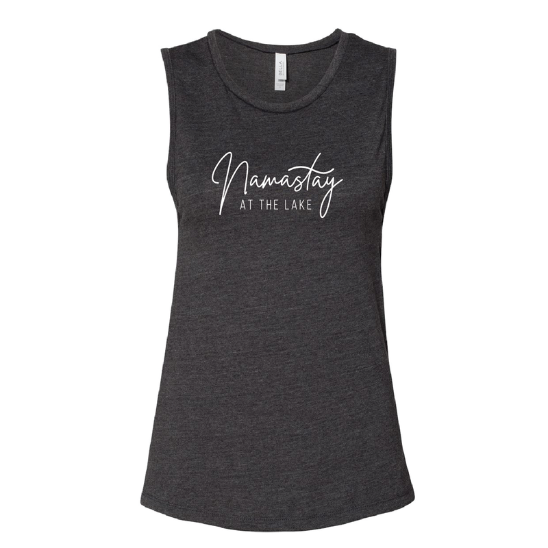 "Ladies' ""Namastay At The Lake"" Muscle Tank - Lake Time Supply Co."