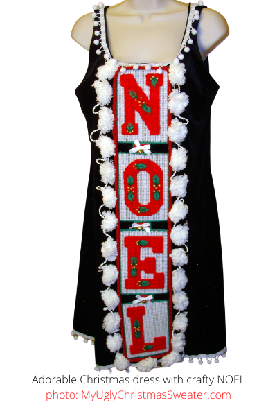 Adorable Christmas dress with Huge PomPoms and Home Crafted NOEL Decoration