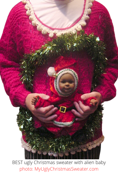 BEST Contest Winner Ugly Christmas Sweater with Funniest Alien Baby Decoration